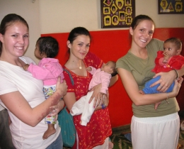 David Blenko facilitated a visit to HOPE worldwide programs in New Dehli by the David Fletcher family.  The Fletcher daughters and daughter-in-law hold babies in a New Delhi orphanage.