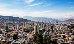 An aerial view of La Paz.  More than 60% of its 800,000 plus people live in slums.