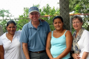 Dave in Nicarague with classmate Donna Allen, and two beneficiaries of a Project Redwood grant to Compatible Technology International