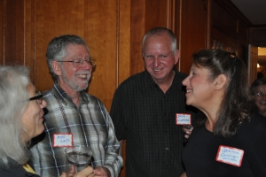 Dave at the 25th reunion with classmates Mike Watt and Janine Golding-Ochsner.