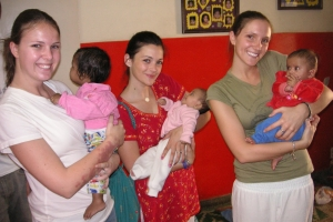 Dave's daughters and daughter-in-law at a HOPE worldwide orphanage in India.