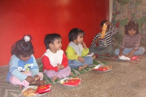 The Fletcher family brought a treat to the children at a HOPE worldwide orphange in India.
